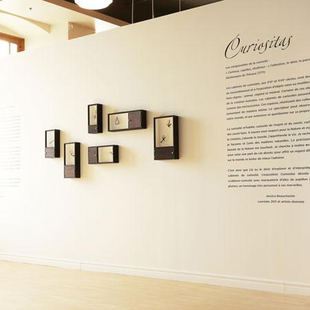 Jessica Beauchemin - Exposition sculptures bois, marqueterie d'ailes de papillon
